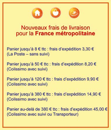 Frais d'expédition pour la France metropolitaine